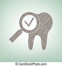 Tooth icon with arrow sign. Vector. Brown flax icon on green background with light spot at the center.
