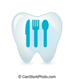 Tooth icon with cutlery