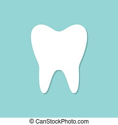 Tooth icon with shadow on a blue background