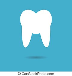 Tooth Icon with shadow. Vector illustration