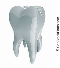 Illustration of simple 3d rendered tooth isolated on white