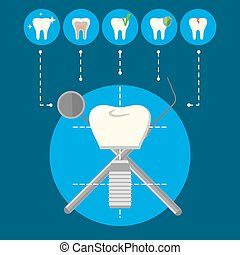 Tooth implant and dental teeth icons