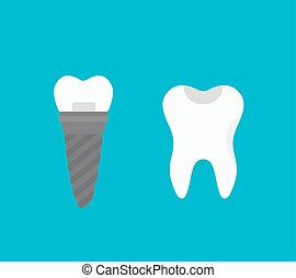 Tooth implant isolated on white background. Tooth implant...