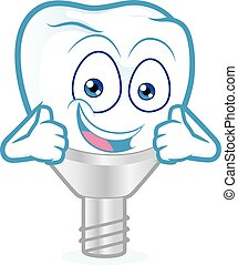Tooth implant giving two thumbs up