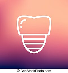 Tooth implant thin line icon