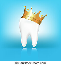 Tooth In Crown - Tooth In Golden Crown, On Blue Background,...