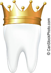 Tooth In Crown, Isolated On White Background, Vector Illustration