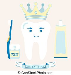 Tooth in the crown. Toothbrush, toothpaste, dental floss and ribbon.