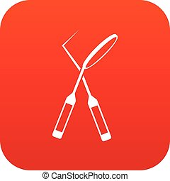 Tooth instruments for dental medicine icon digital red