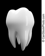 Tooth isolated on black background illustration