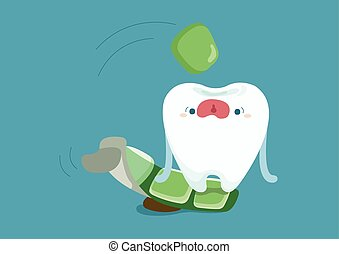 Tooth jumping to eat a chewing gum