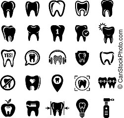 Tooth logo dental clinic icons set, simple style
