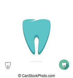Tooth logo vector symbol isolated, flat outline linear