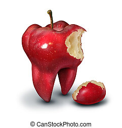 Tooth loss concept as a red apple shaped as a human molar with a bite taken out of it as an icon for for human teeth health and oral hygiene or dentistry service metaphor on a white background.