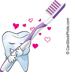 concept vector illustration of tooth hugging toot-brush