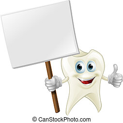 Tooth man holding a sign - An illustration of a cartoon...