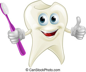 Tooth man holding a toothbrush - An illustration of a...