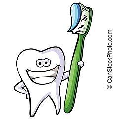 Tooth Mascot Cartoon Illustration