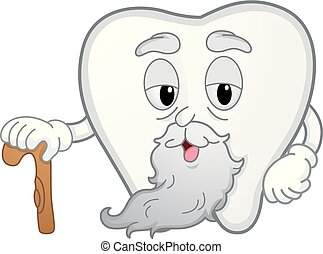 Tooth Mascot Old Cane Illustration