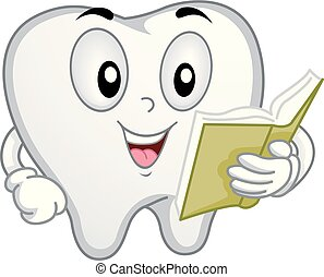 Tooth Mascot Reading Illustration