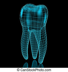 Tooth mesh in blue over a black background. Part of a...