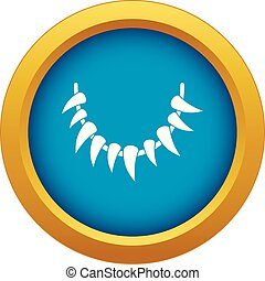 Tooth necklace icon blue vector isolated on white background...