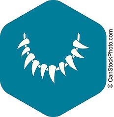 Tooth necklace icon, simple style - Tooth necklace icon. ...