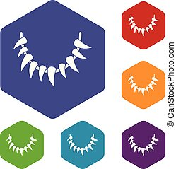 Tooth necklace icons vector hexahedron - Tooth necklace ...