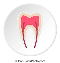 Tooth nerve icon, flat style