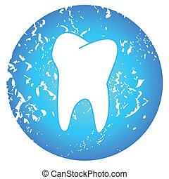 Tooth on a blue background