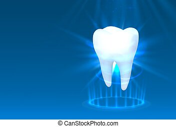 Tooth on a blue background, template design element.