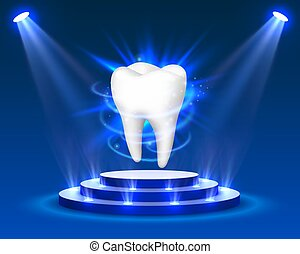 Tooth on a blue background, template design element,