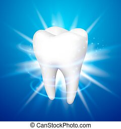 Tooth on a blue background.