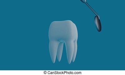 Tooth on a blue background with a dentist tool. Dentist tool for inspect of the teeth.
