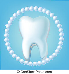 Tooth on a blue background with pearls