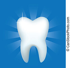 Tooth on a dark blue background