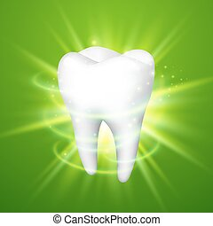 Tooth on a green background.