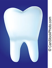 Tooth on blue background, vector illustration made with mesh