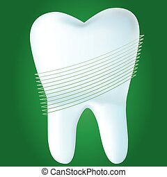 Tooth on green background, vector illustration made with mesh