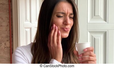 Tooth Pain. Woman Suffering, Feeling Strong Teeth Pain...
