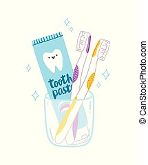 Tooth paste and brushes cartoon illustration