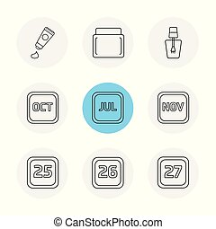 tooth paste , nail polish , calender , months , cosmetics , household , eps icons set vector