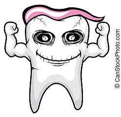 tooth pink character vector