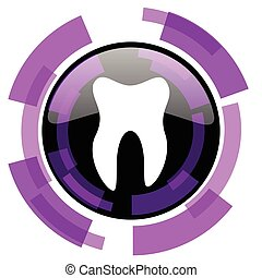 Tooth pink violet modern design vector web and smartphone icon. Round button in eps 10 isolated on white background.