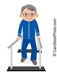 Tooth polish - Portrait of Senior man having ambulatory...