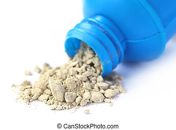 Tooth powder with bottle