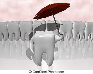cartoon of a tooth protecting himself with an umbrella