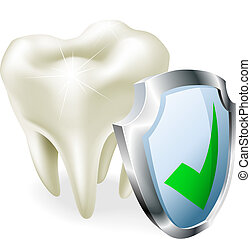 Tooth protection concept - A tooth with a shield and green...