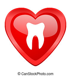 tooth red heart valentine glossy web icon