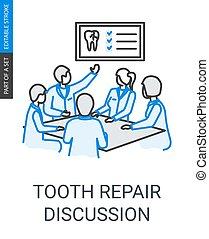 Tooth repair dentists team discussion linear icon